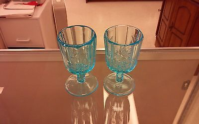 Lg Wright Paneled Grape Blue Footed Glass Set Of 2