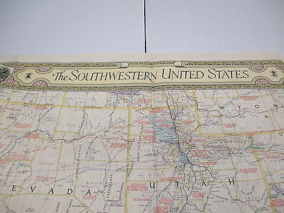 """1940 NATIONAL GEOGRAPHIC Map The Southwestern United States 26"""" x 35"""" S139"""