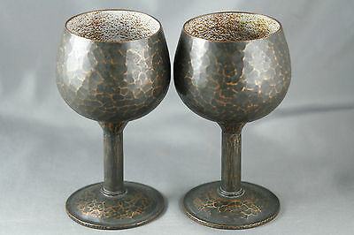 Raul Celery Hammered Copper Enamel Goblets Hand Crafted Artisan Chile Signed
