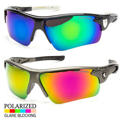 Khan Polarized Mirror Lens Men Fishing Cycling Baseball Sport Wrap Sunglasses X