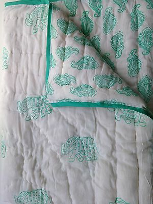 Elephant & Paisley Boho Inspired Baby/toddler Quilts Krisna Design Mint Green