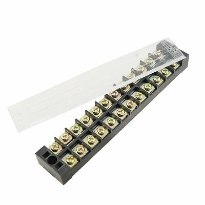 Double Rows 12 Position Covered Barrier Block Terminal Strip 600V 25A DT