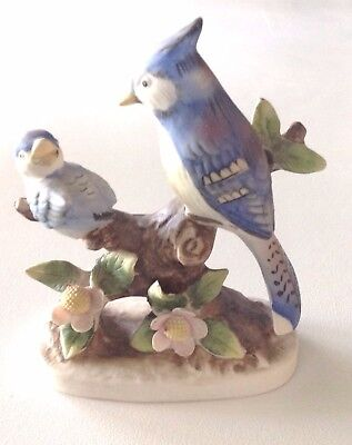 Mother And Baby Blue Jay On Flowering Branch Porcelain Figurine, Figurine  #8049