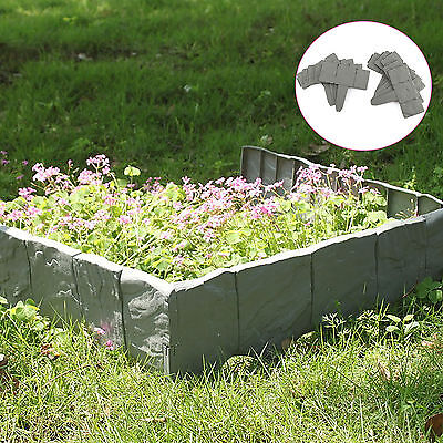 10 Pack Grey Cobbled Stone Effect Plastic Garden Lawn Edging Plant Border 2.5M