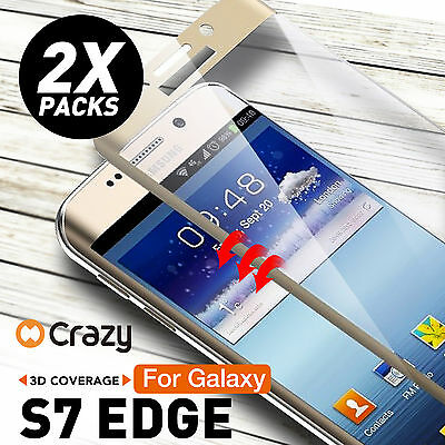 2 x Full Coverage 9H Tempered Glass Screen Protector for Samsung Galaxy S7 Edge