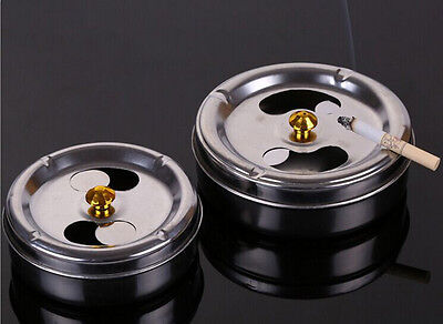 2016 Hot New 1Pcs Staninless Steel Windproof Ashtray With Lid Silver 10cm/3.94''
