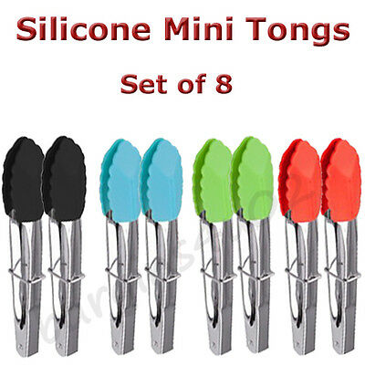 8 x Stainless Steel Silicone Mini Tongs 18cm Kitchen Salad Serving Cooking - New