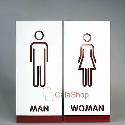 Restroom Sign Bathroom Sign Modern Adhesive Backed Men & Women Unisex 195mmx90mm