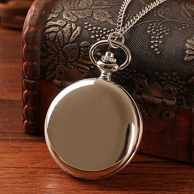 Stainless Steel Luxury Smooth Pocket Watch Quartz Necklace Pendant Chain Vintage