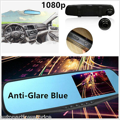 Camera Lens Car Vehicle 4.3'' HD 1080P Cam Dash Video Recorder Rearview Mirrors
