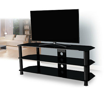 "TV Stand Cabinet Suitable For LCD LED Plasma 26 to 65"" Inches Black Glass Leg"