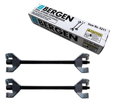 2pc COIL SPRING COMPRESSOR CLAMP SET by BERGEN TOOLS 370mm Twin Hook Heavy Duty