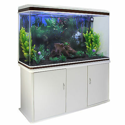 Fish Tank Aquarium Tropical Marine Complete Set Up 4ft White Cabinet 300 Litre
