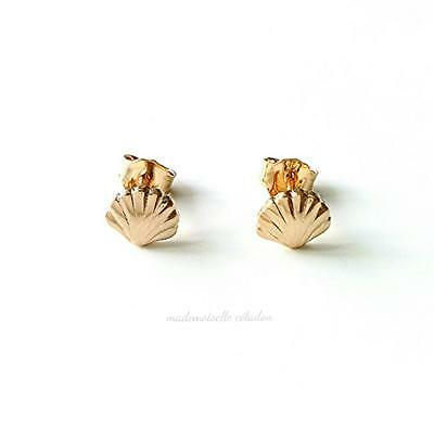 Boucles Puces, Clous Plaque Or 18 Carats - Petits Coquillages Or