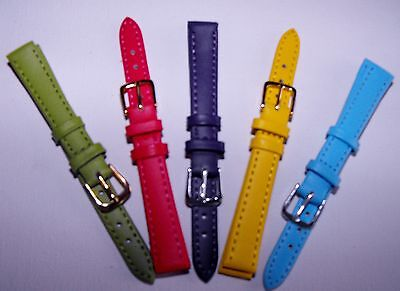 12mm Ladies Watch Straps Choice of Pastel Bright Colours Genuine Leather Band