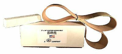 "2""x48"" Leather Strop Honing Belt Polishing w Buffing Compound Pro Sharpening New"