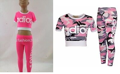 New Girls Adios Pink Camo Camouflage Army Tracksuit Crop Top & Leggings Age 7-13