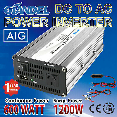 Power Inverter Modified Sine Wave 600W/1200W Max DC 12V to 240V Car Plug Cable