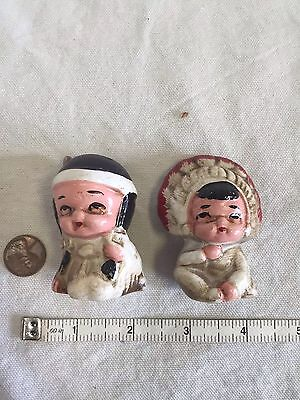 Vintage Native American Indian Boy Girl Salt and Pepper Shakers GUC