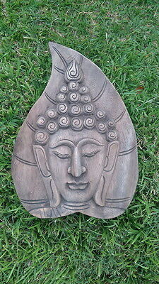 Large Buddha Face Thai Hand Carved Old Teak Wood Respect Wall Hanging