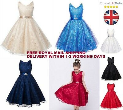 Girls Flower Lace Formal Wedding Dress Party/Bridesmaid/Prom/Princess *7 Colours
