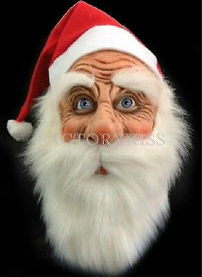 Funny Supersoft Santa Claus Christmas Mask Wig Beard Costume Party Holiday