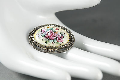 Russian Enamel Filigree Brooch Hand Painted Floral Vignetted Edge Silver Tone