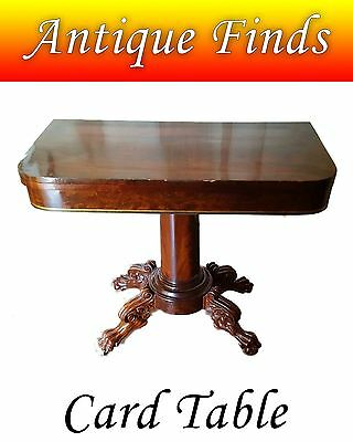 Antique Lion Paw Card Table - Gaming Table