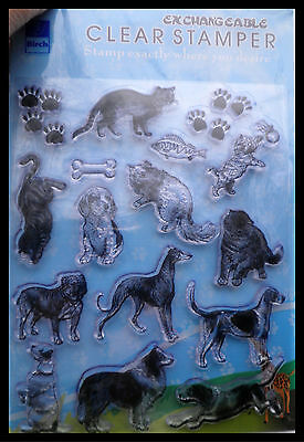 Paws Cat Kitten Fish Dogs Collie Stamps Birch Clear Stamps  .....   Free Postage