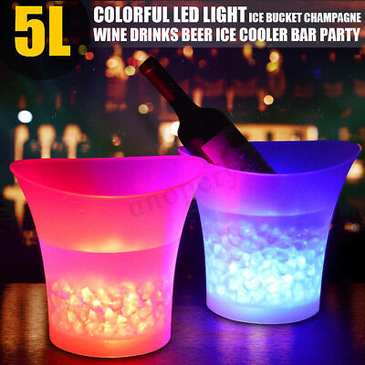 7 LED Colour Changing Ice Bucket Champagne Wine Drinks Cooler Bar Party Xmas 5L