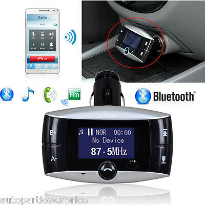 Car Bluetooth FM Transmitter Handsfree Speaker MP3 USB Charger SD For All Phones