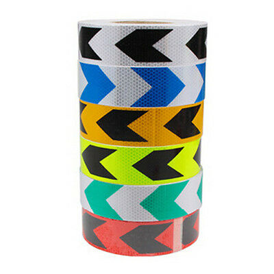 3M 10M 25M 38M Reflective Safety Warning Tape Film Sticker Roll Strip Arrow 5 CM