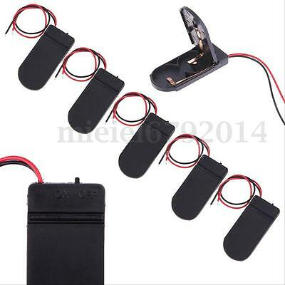 5PCS Button Coin Cell Battery Socket Holder Case Box 6V Wire Lead ON/OFF Switch