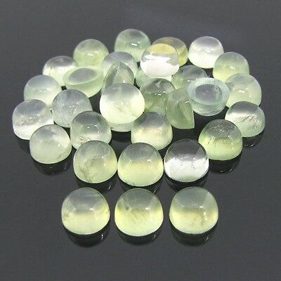 25 Pcs Amazing Lot Natural Prehnite 4X4 Mm Round Shape Cabochon Loose Gemstone