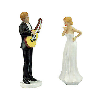 Romantic Guitar Bride and Groom Wedding Cake Topper Proposal Couple Figurine
