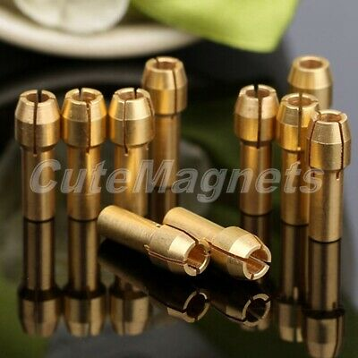 "10Pcs Solid Brass Collets Adapter Nut Kit Set 1/8""  Grinder Drills Rotary Tool"