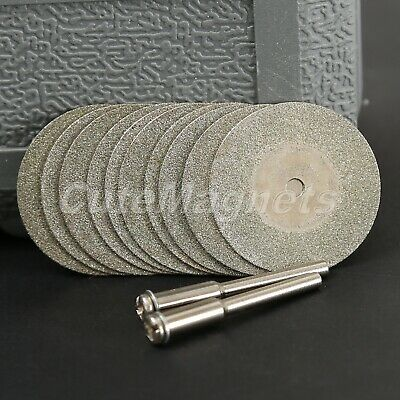 10Pcs 30mm Diamond Coated Cutting Blade Wheel Disc with 2 Shank  Grinder Drill