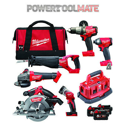 Milwaukee M18FPP6B-503B 18v Li-Ion Cordless 6 Piece Kit - 3x 5.0Ah Batteries