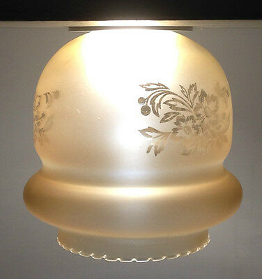 Frosted Carnival Etched GLASS Light Shade Vintage Amber Flower 1970's