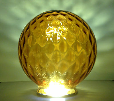 Vintage 1970's Amber Large Glass Shade Light Fitting & Pole Mount Outdoor Indoor