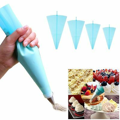 4 Sizes Silicone Reusable Cake Cream Pastry Icing Bag Piping Bag Decorating Tool