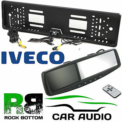 "IVECO 4.3"" Rear View Reversing Mirror Monitor & Van Number Plate Camera Kit"