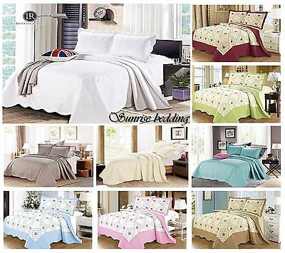 3 Piece Bedspreads Embroidered Quilted Bedding Set Bedspreads Throw Reversible