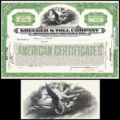 Kreuger & Toll Company 1929 Stock Certificate