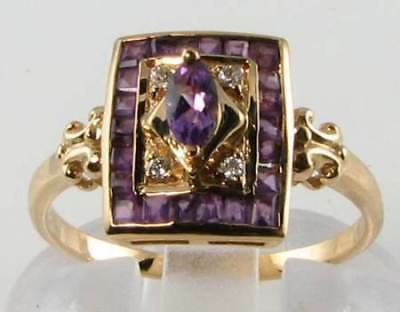Lovely 9Ct Gold Art Deco Ins Amethyst & Diamond Ring