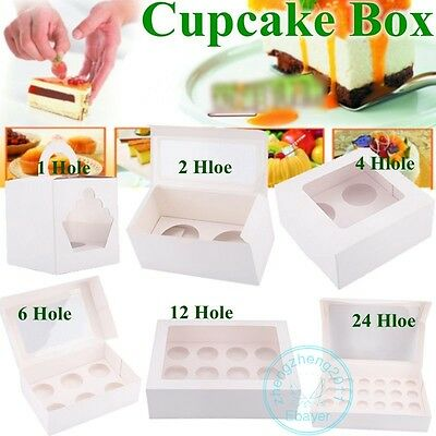 Cupcake Boxes with Window Holds Cup cakes in each box Baking Party Home Garden