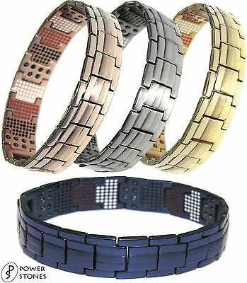 Power Stones Mens Strong Magnetic Therapy Bracelet 4In1 Arthritis Pain Relief 01