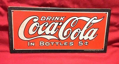 "Coca Cola Vintage Retro Tin Sign "" Drink Coca Cola in Bottles 5cents"" 12 x 6"