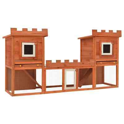 """76"""" Deluxe Wooden Rabbit Hutch Pet House Chicken Coop Poultry Wood Cage w/ Run"""