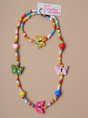 Girls Coloured Wooden Butterfly Bead Necklace And Bracelet Set Jewellery Kids